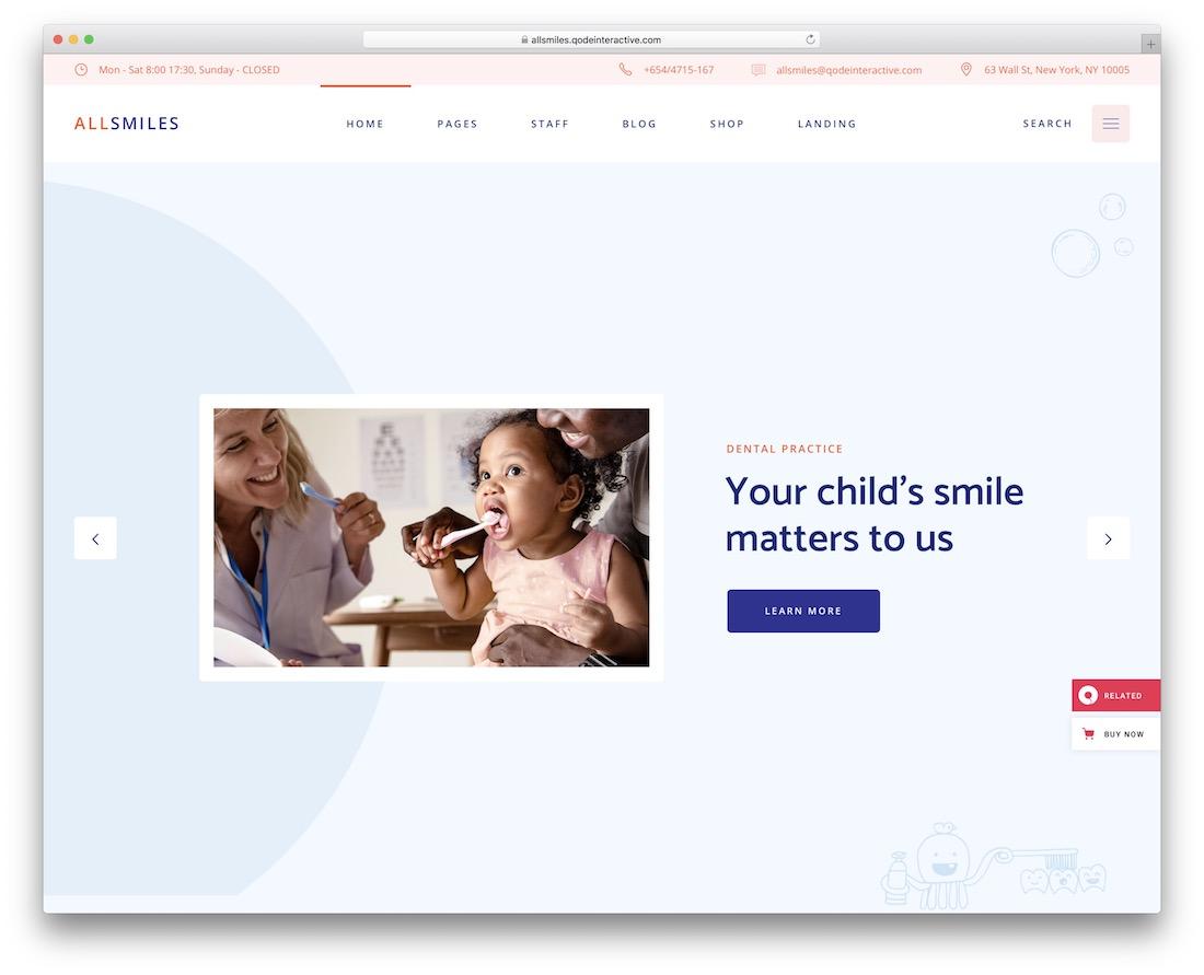 allsmiles wordpress dentist theme