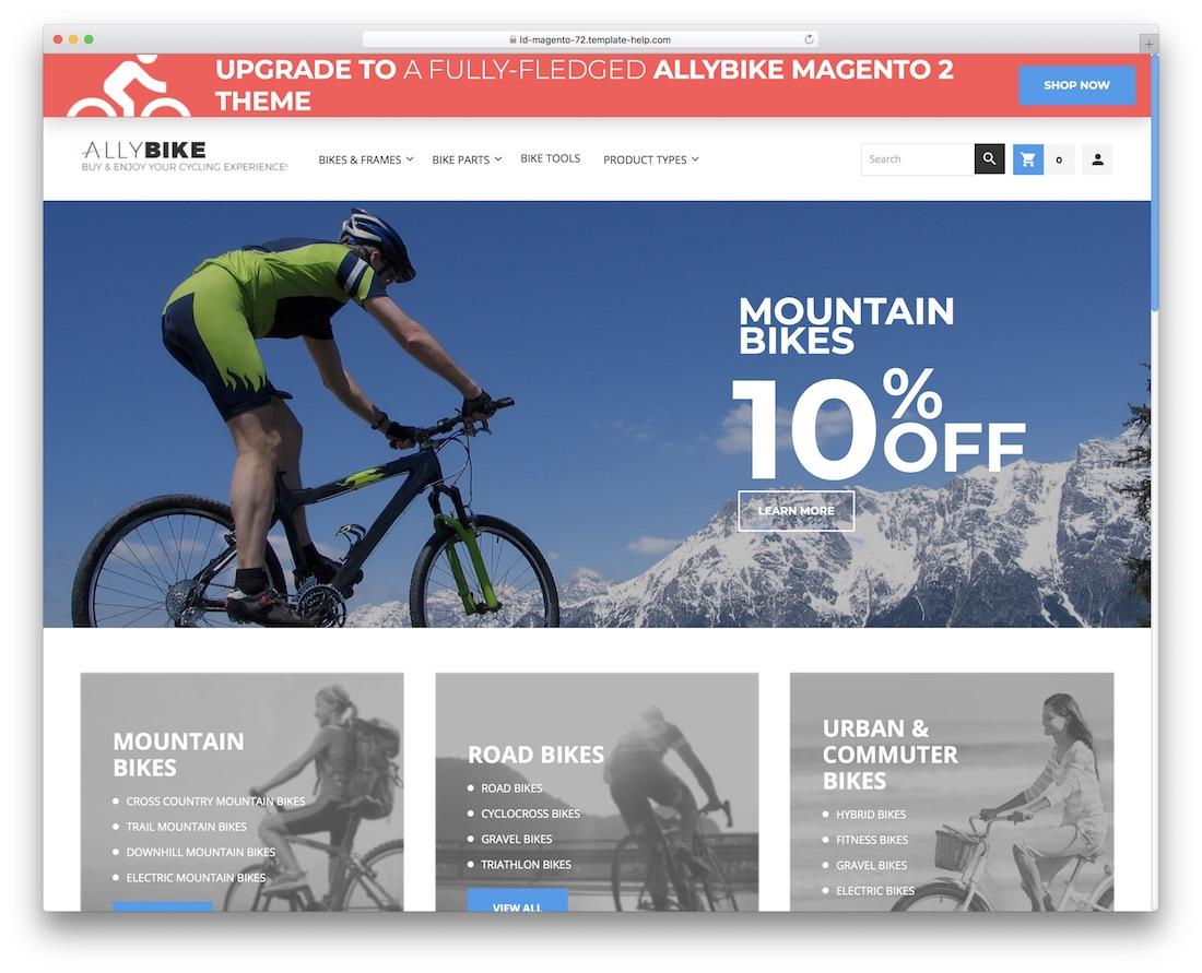 allybike free magento bike template