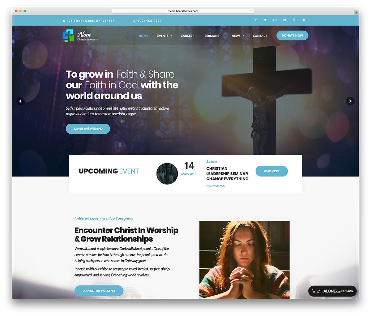 alone -modern church WordPress theme