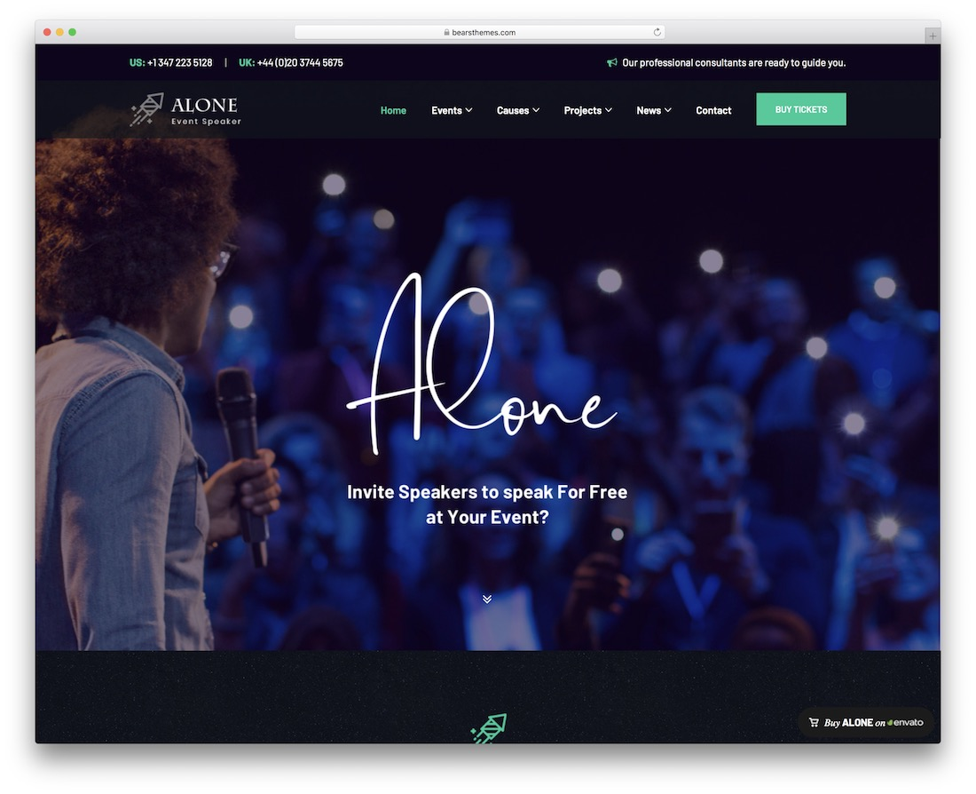 alone wordpress theme for conference and event