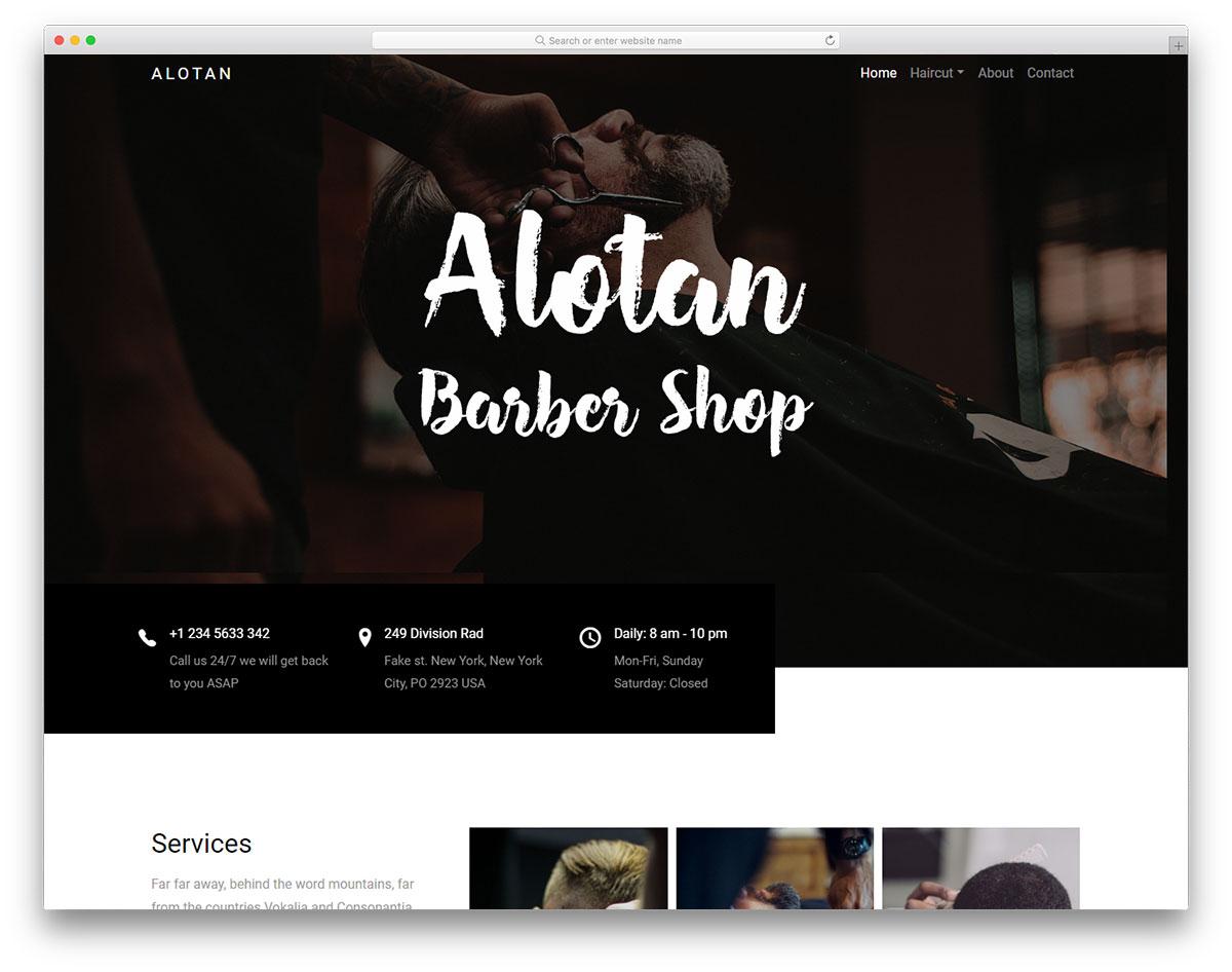 alotan free responsive barber website template colorlib. Black Bedroom Furniture Sets. Home Design Ideas