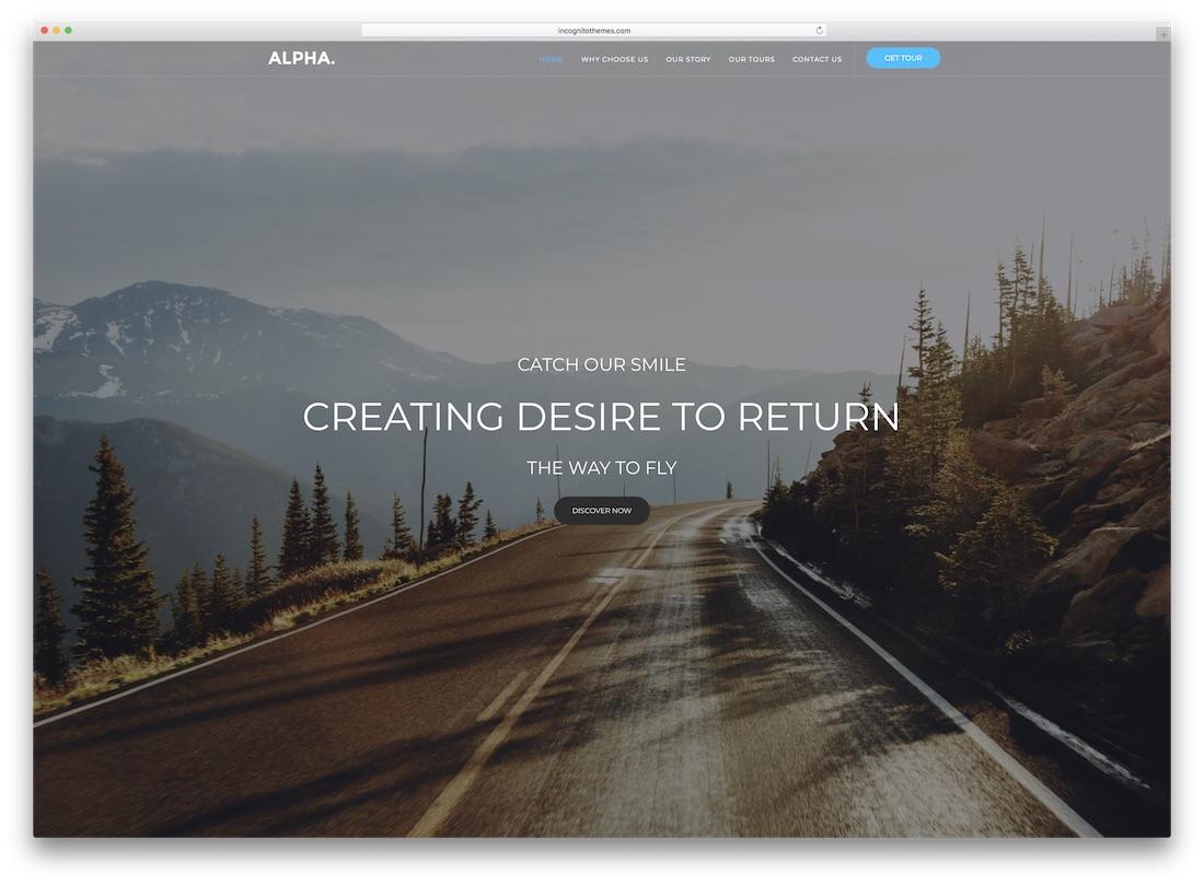 alpha dot travel website template