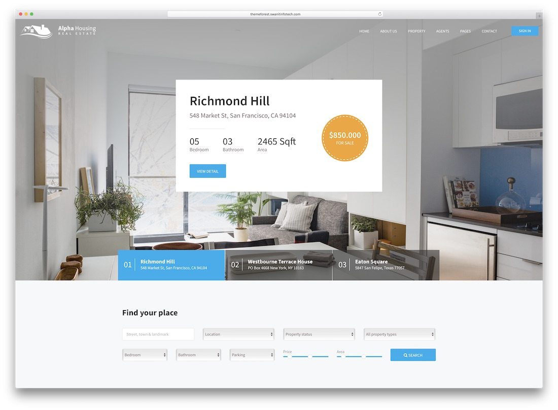 alpha housing real estate website template