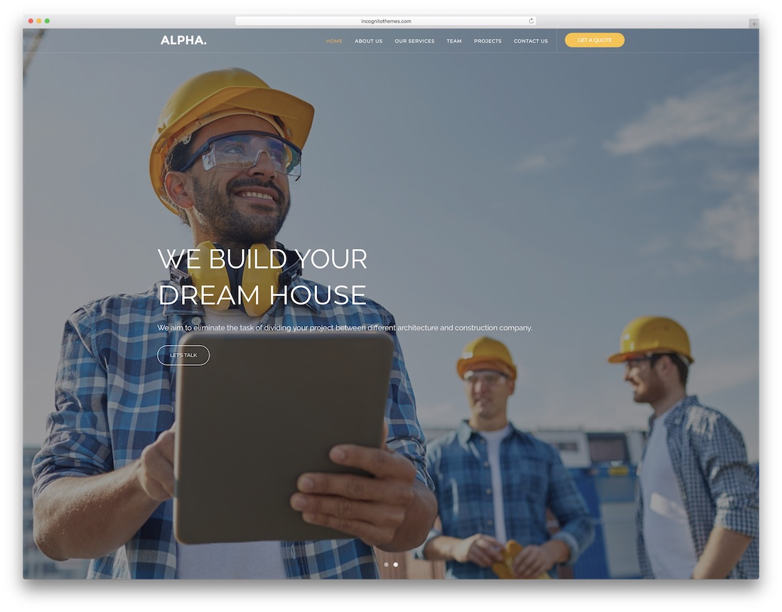 alpha html construction company template