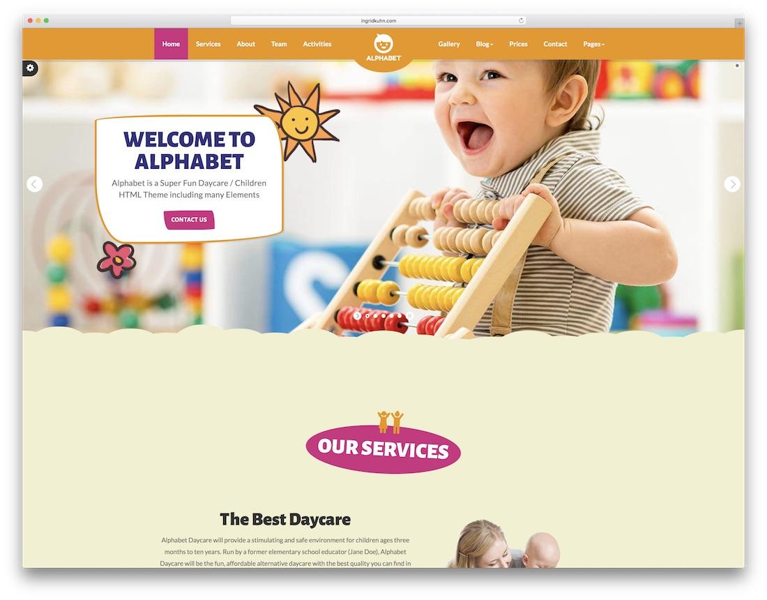 alphabet daycare school website template