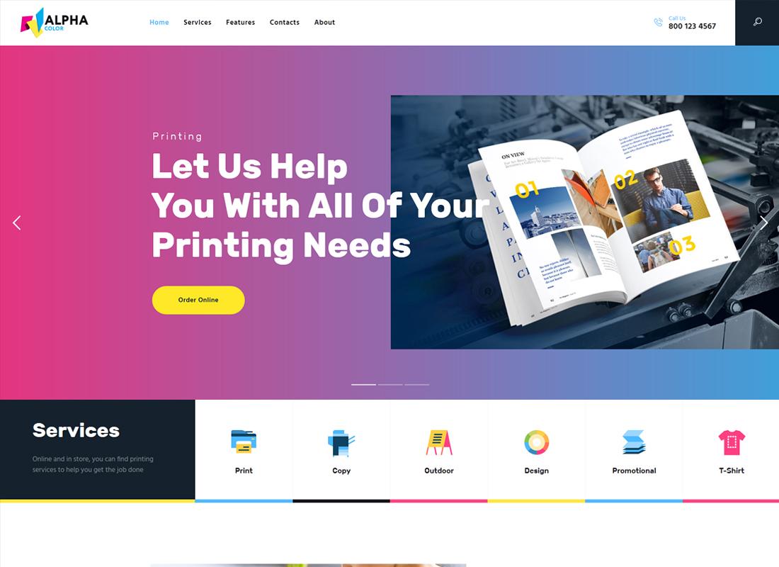 AlphaColor - Type Design & Printing Services WordPress Theme