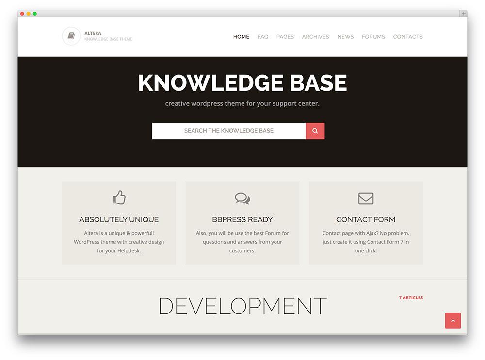 altera complete knowledge base wordpress theme