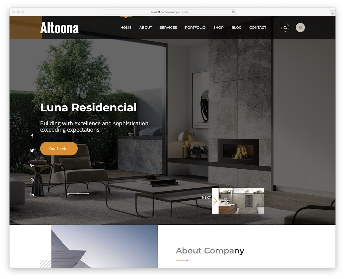 altoona wordpress theme for architects