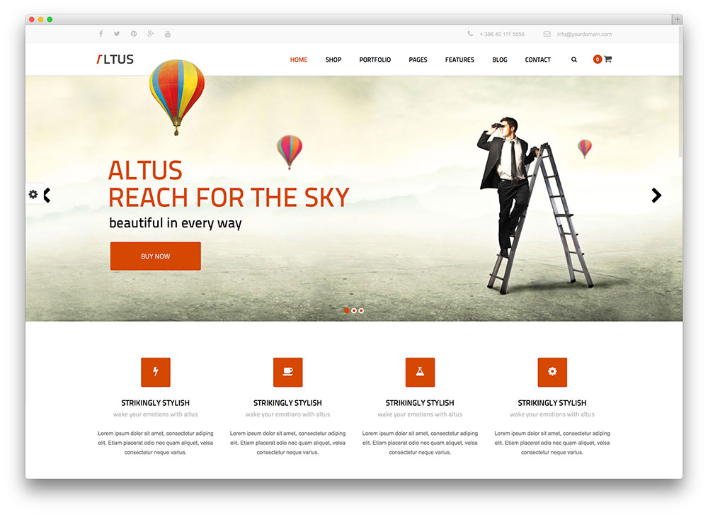 40 stunning parallax scrolling wordpress themes for agencies altus clean business theme wajeb Gallery