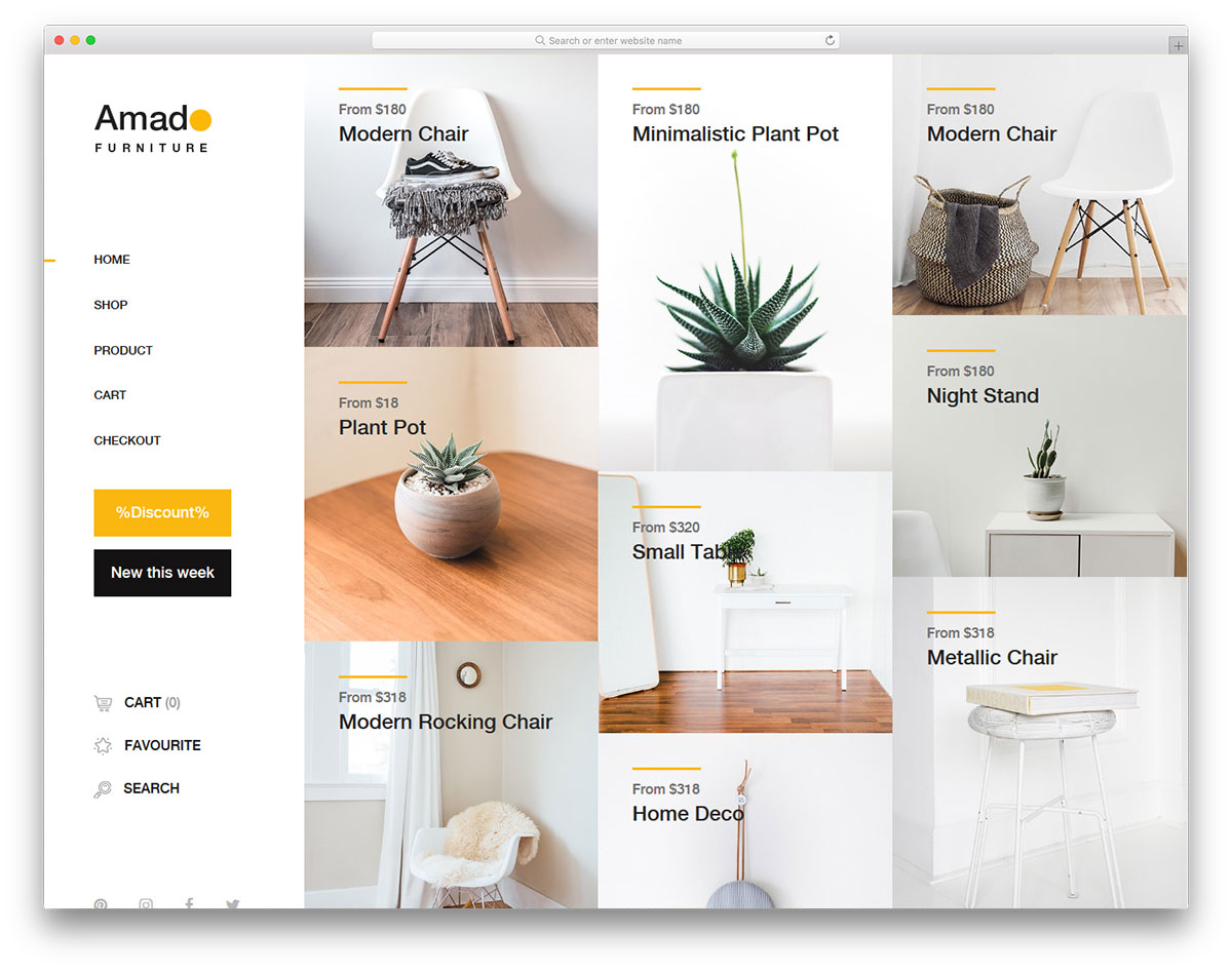 best free furniture ecommerce website templates 2018 colorlib
