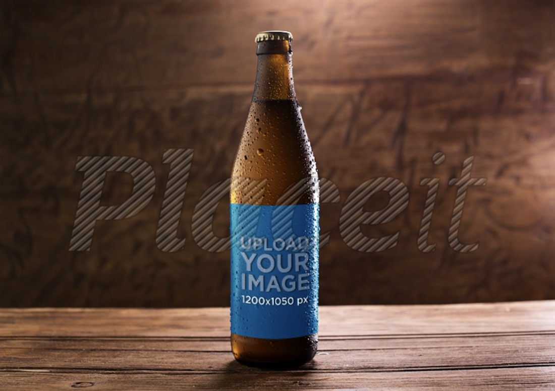 amber weizen beer bottle template on a wooden surface