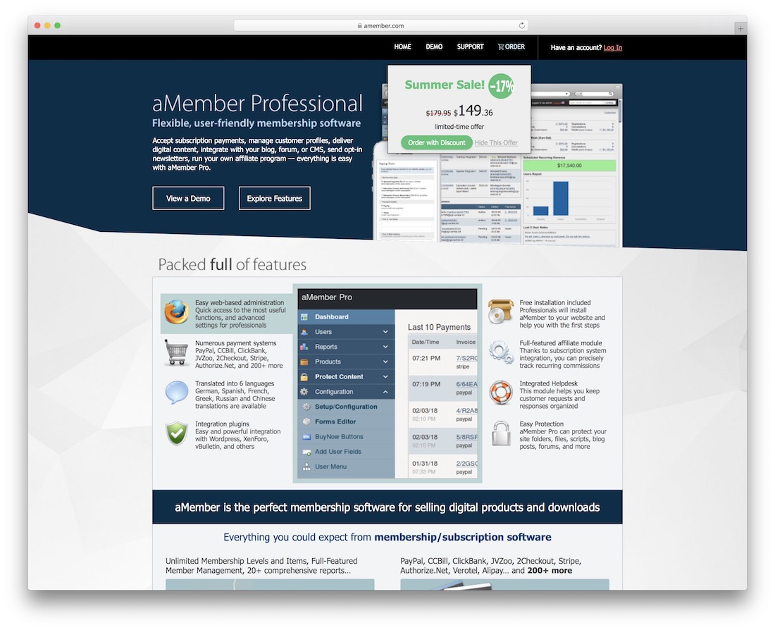 amember software for creating a membership site