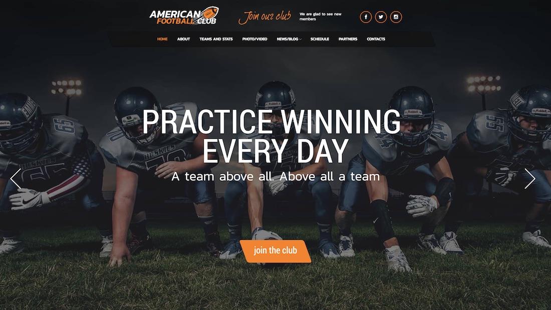 american football website template