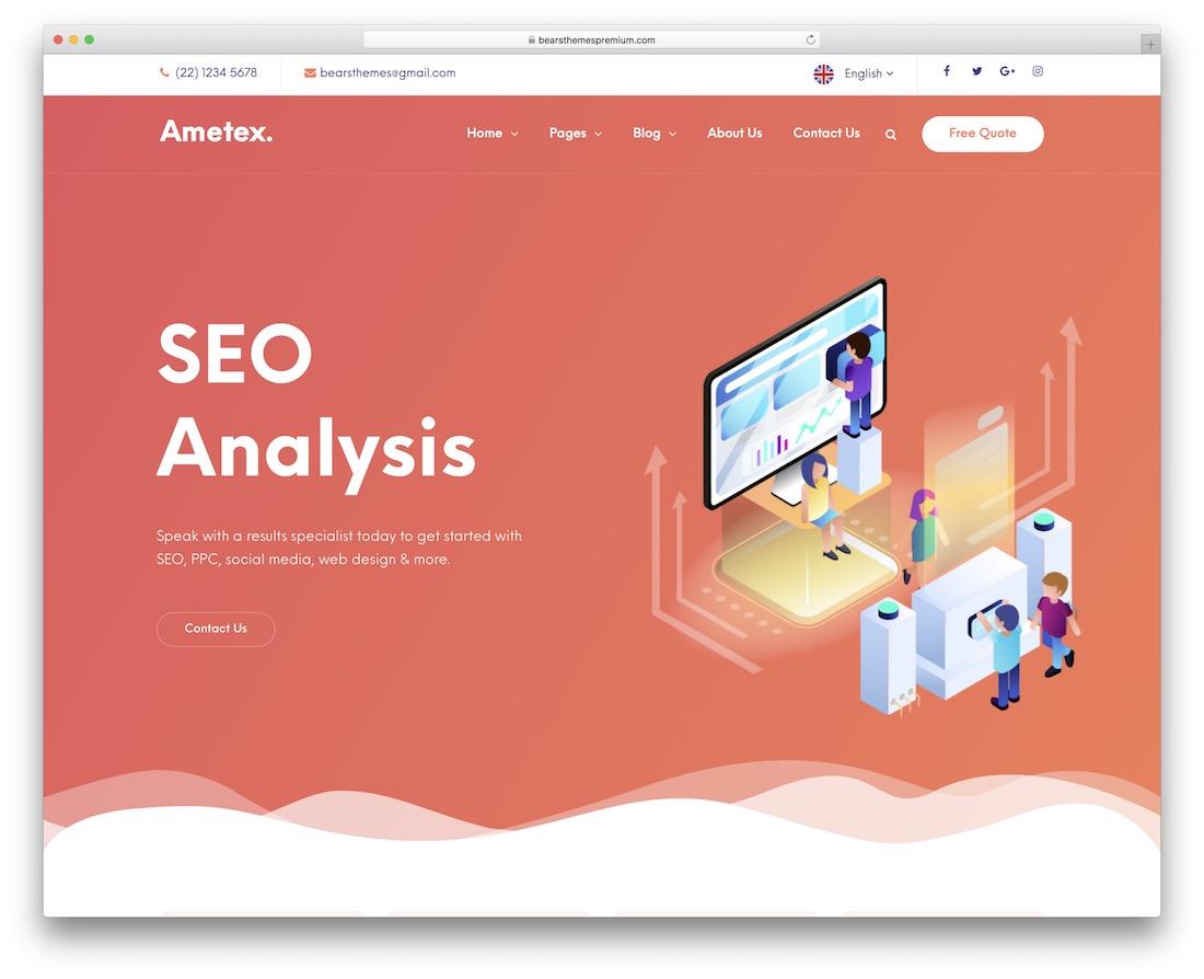 ametex digital marketing wordpress theme