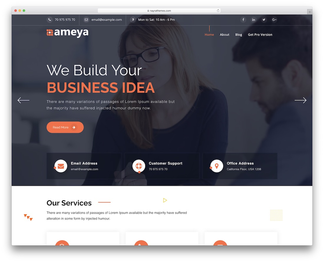 ameya free full screen wordpress theme
