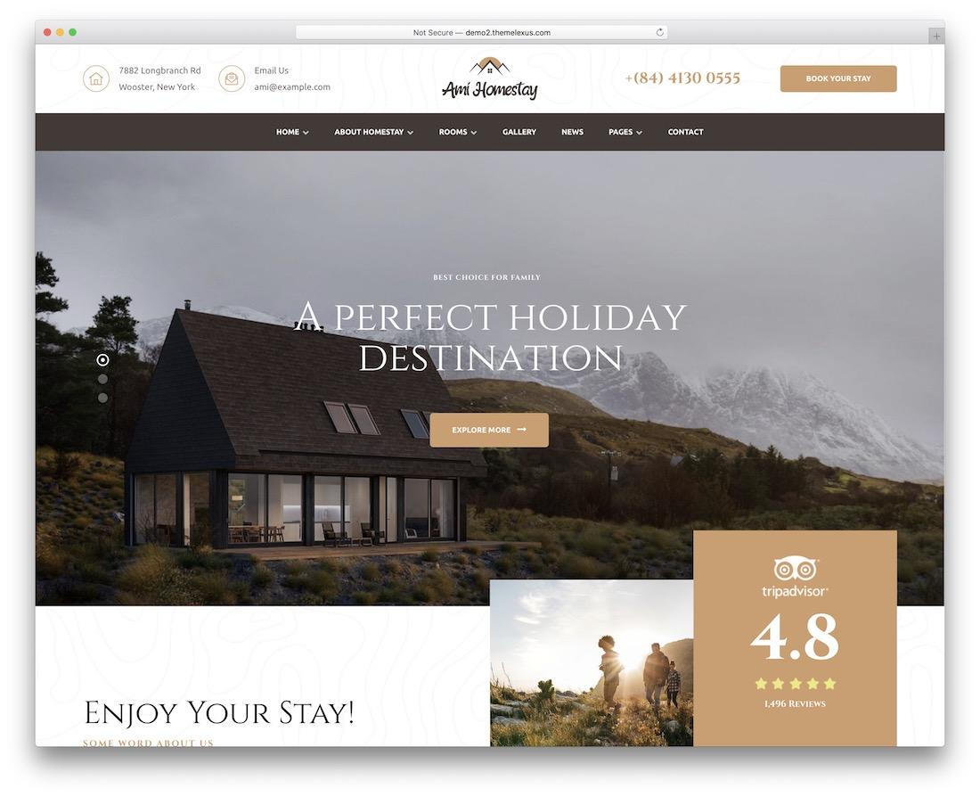 ami homestay hotel wordpress theme