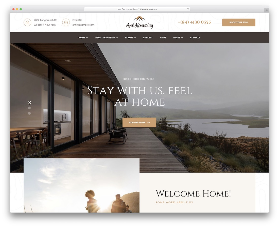 ami homestay vacation rental wordpress theme