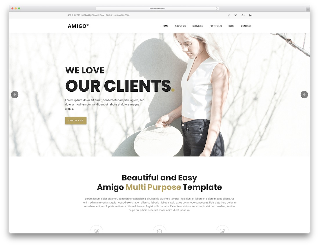 amigo html5 one page website template
