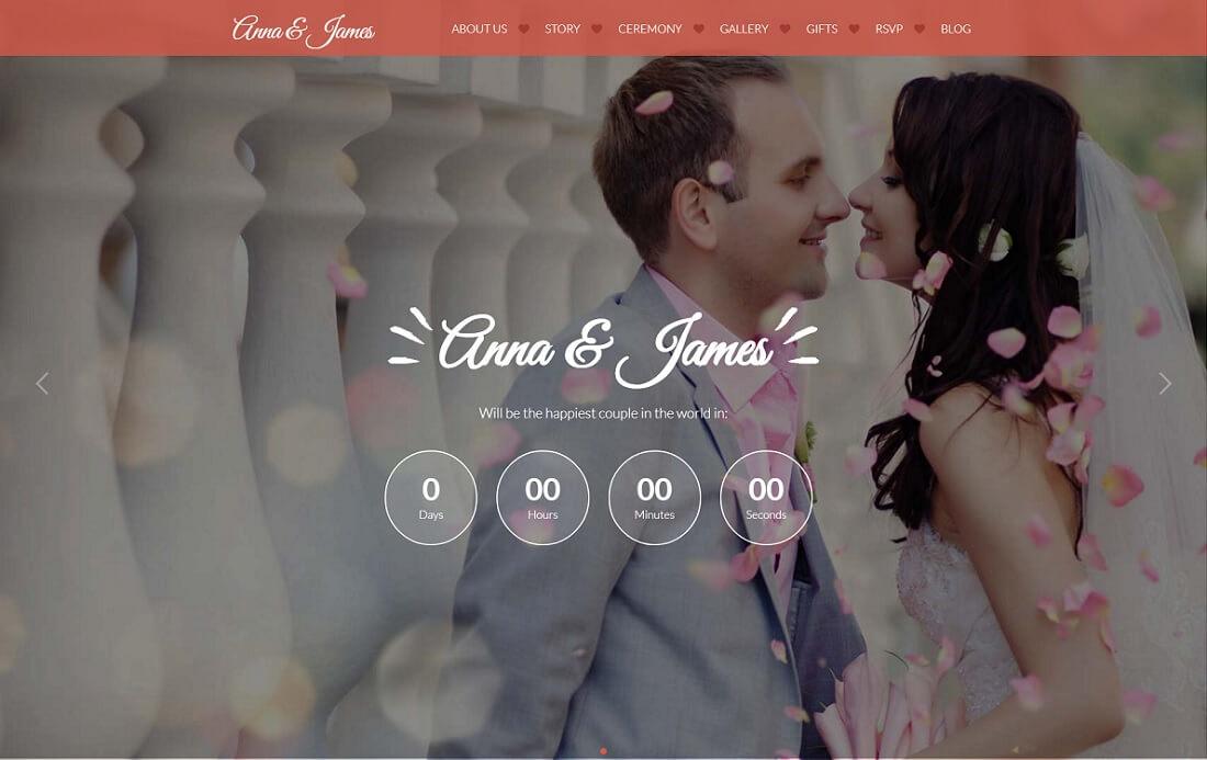 amore HTML wedding website template