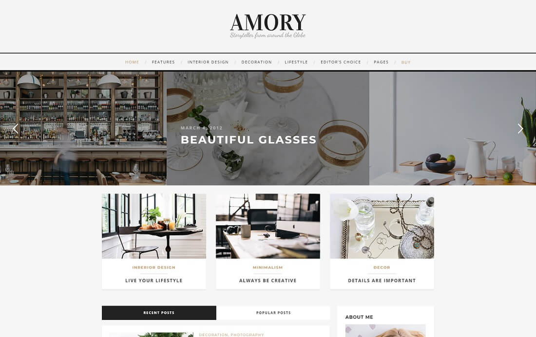 amory wordpress instagram theme
