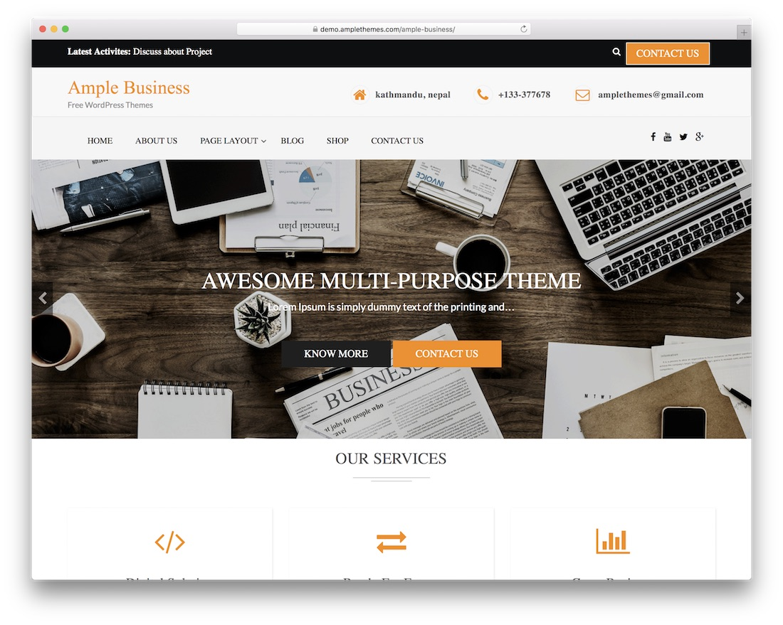 ample free wordpress business theme