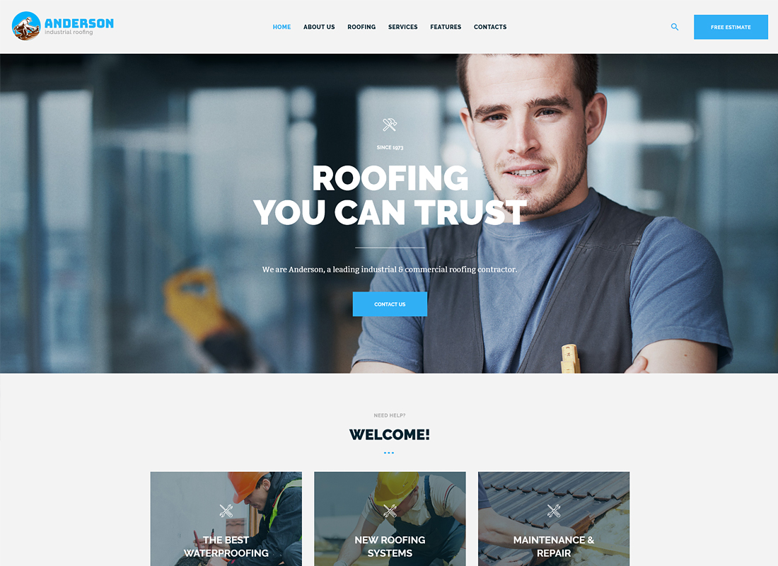 Anderson - Industrial Roofing Services WordPress Theme