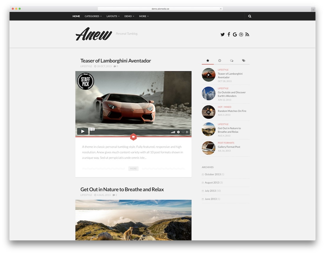 anew tumblr style wordpress theme
