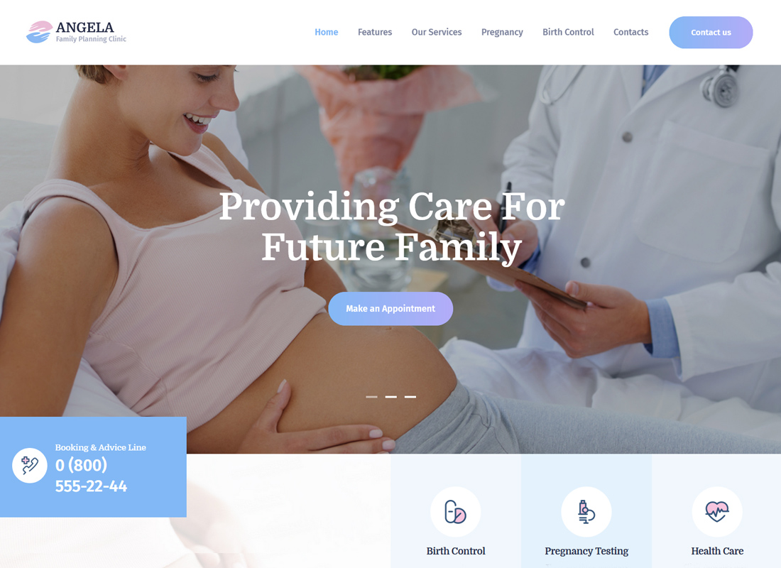 Angela - Family Planning Clinic WordPress Theme