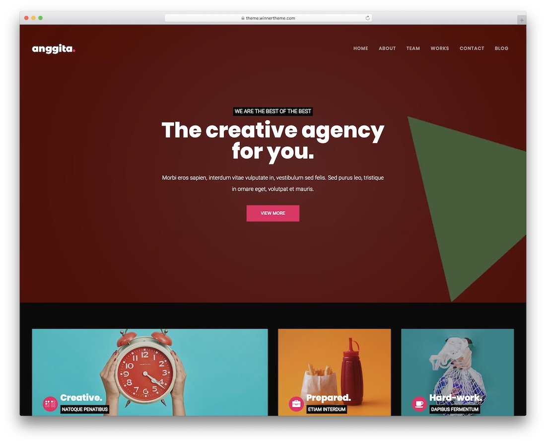 anggita one page website template