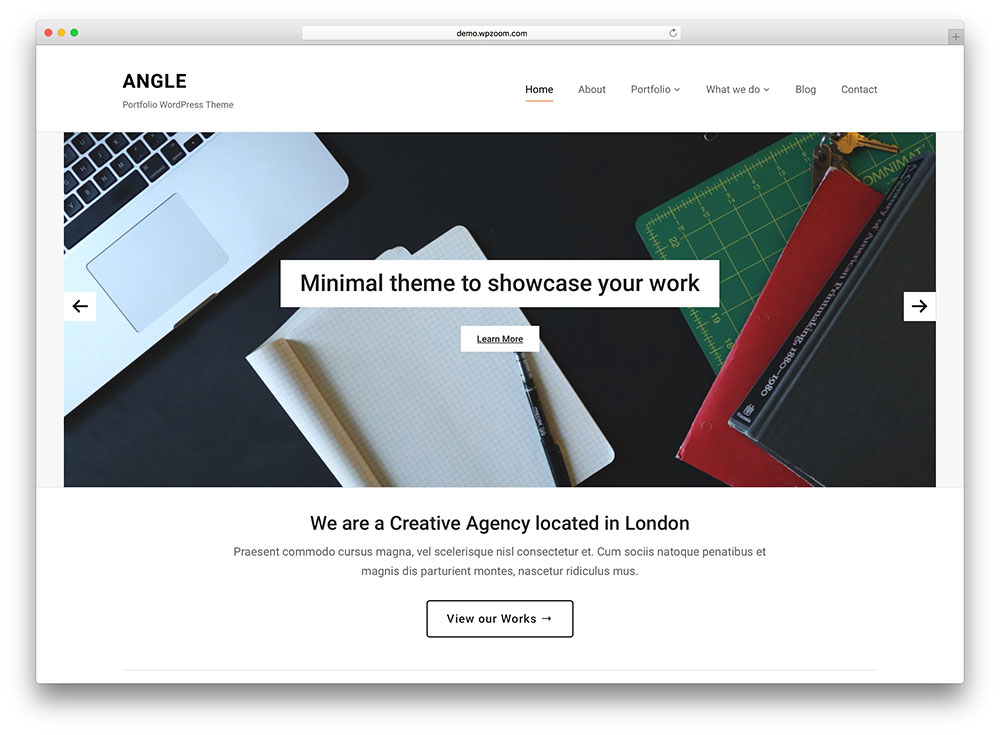 40 best minimalist wordpress themes for creatives 2018 for Minimalist homepage