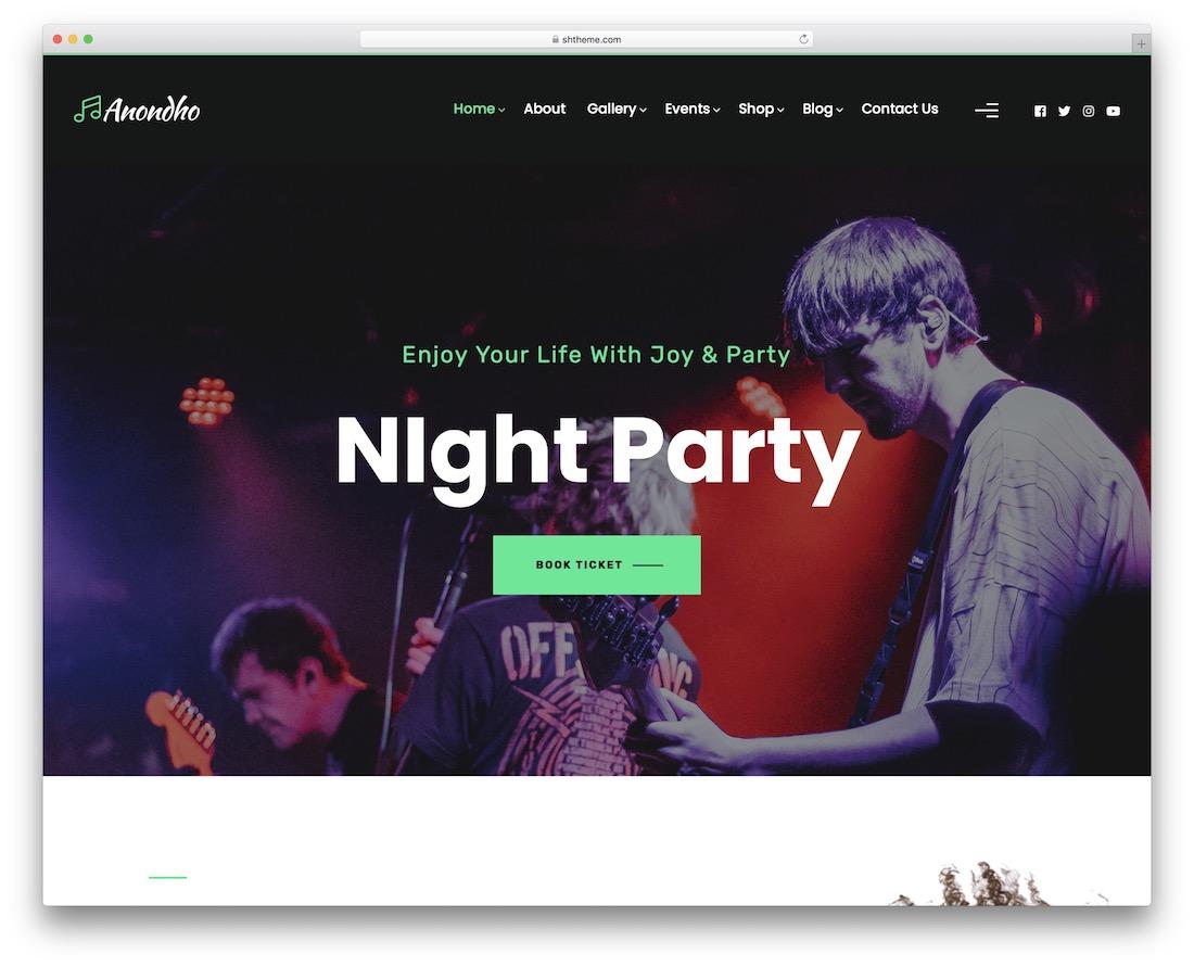 anondho wordpress nightclub theme