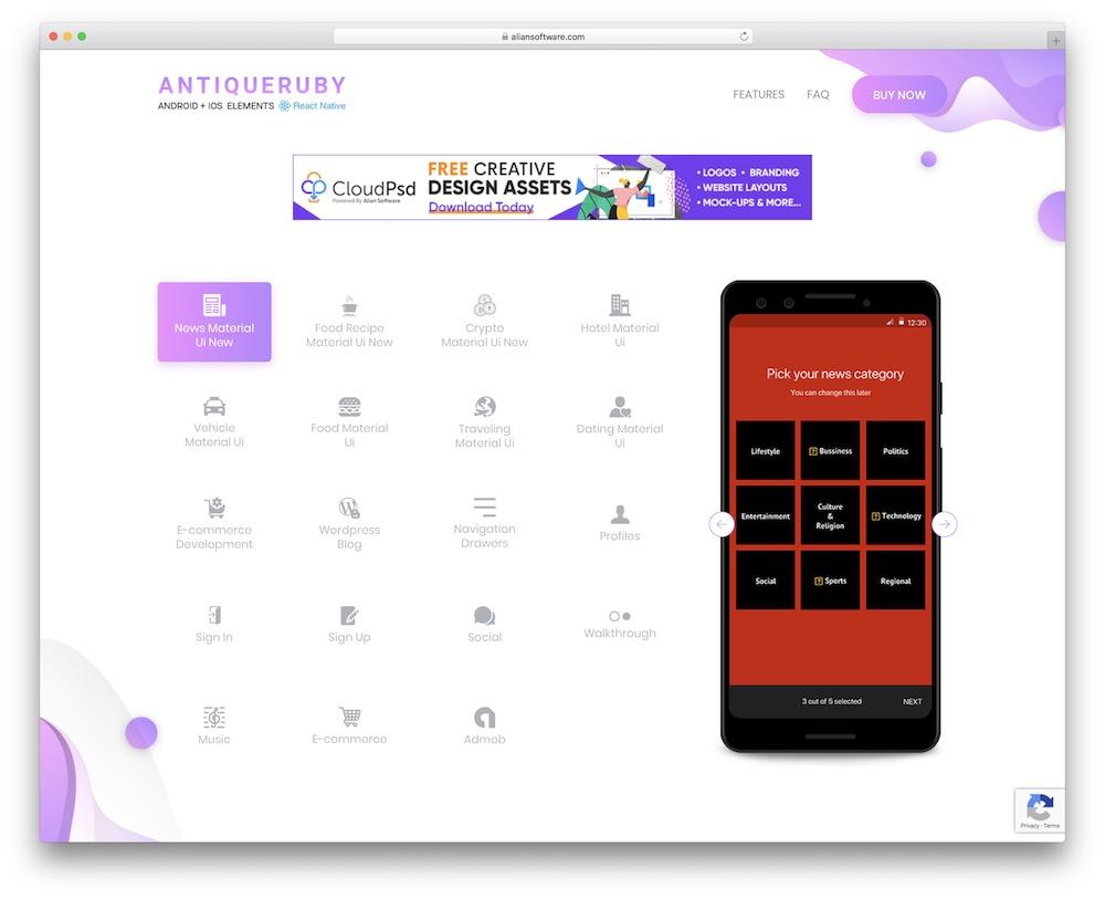 antiqueruby react native mobile app kit