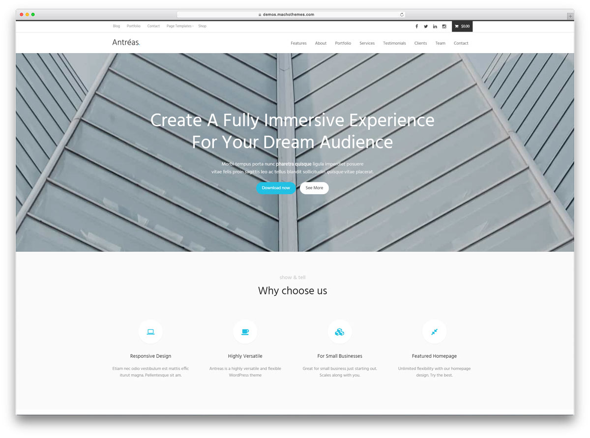 Antreas Is A Clean And Simple Free WordPress Business Website Theme Its The Perfect Tool For Taking Your Business Projects And Ventures Online In A Flash