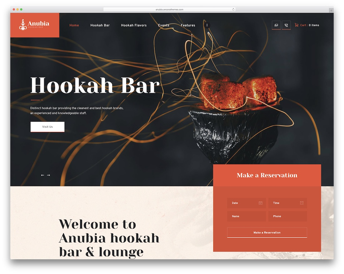 anubia wordpress theme for bars pubs