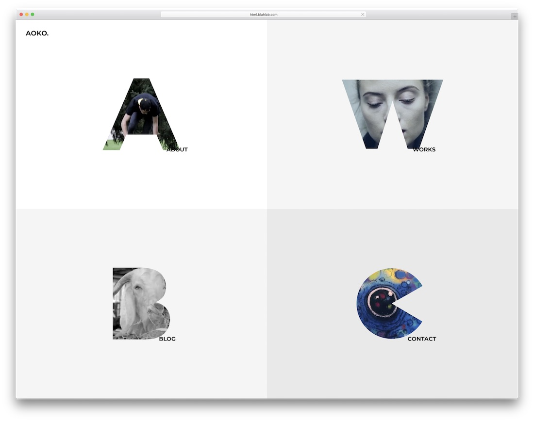 aoko innovative portfolio website template