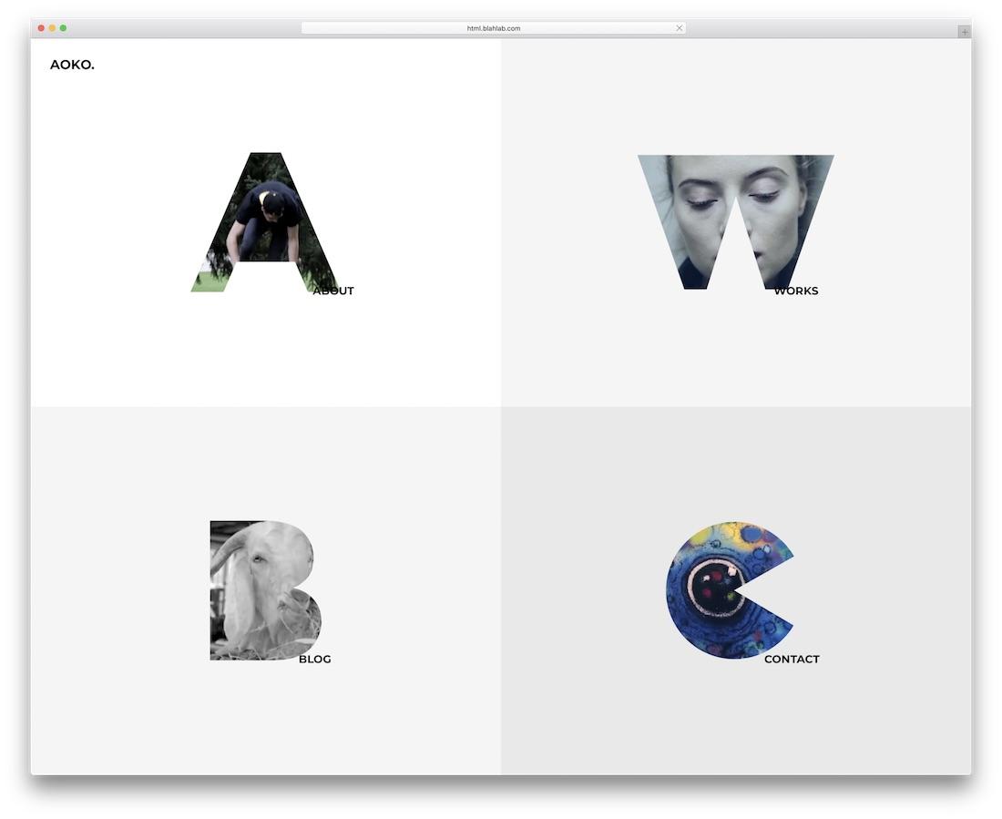 aoko minimal website template