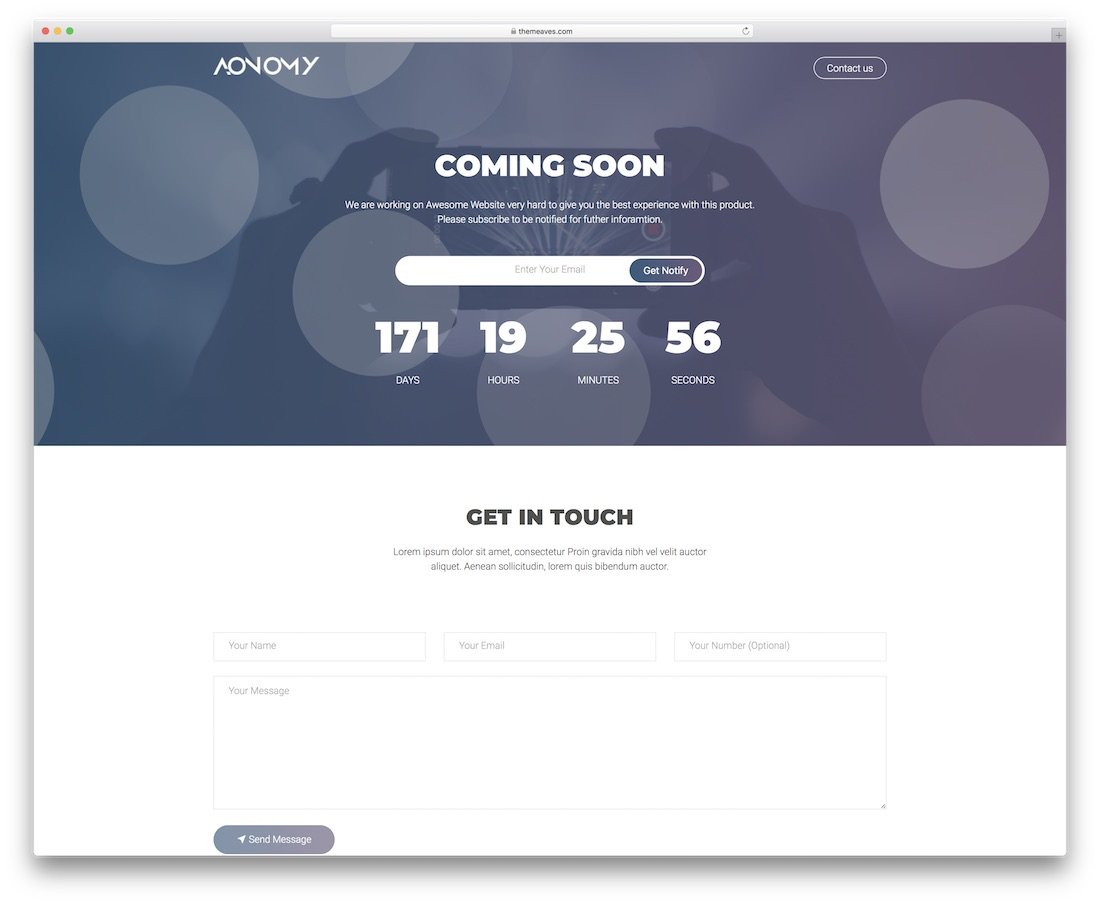 aonomy coming soon template