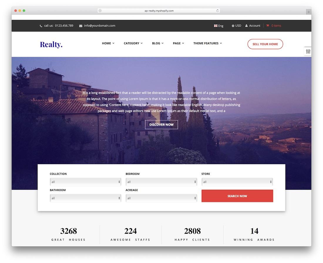 ap realty shopify real estate theme
