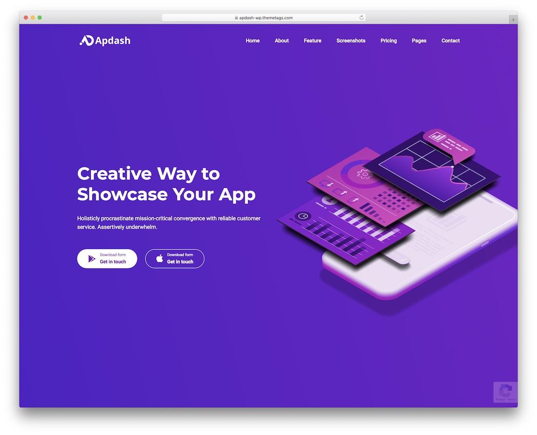 apdash app showcase wordpress theme