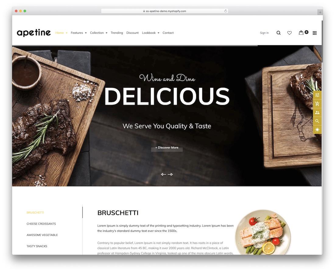 apetine shopify restaurant theme