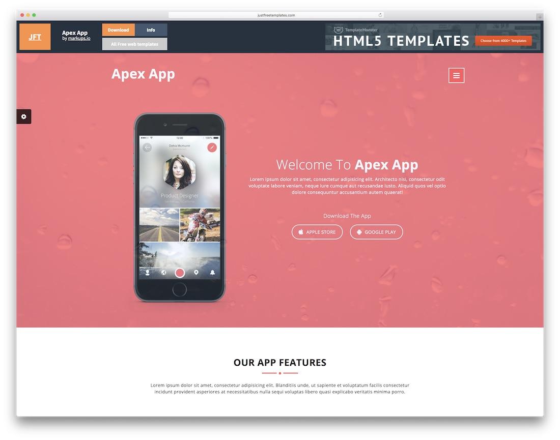 apex app free html5 website template