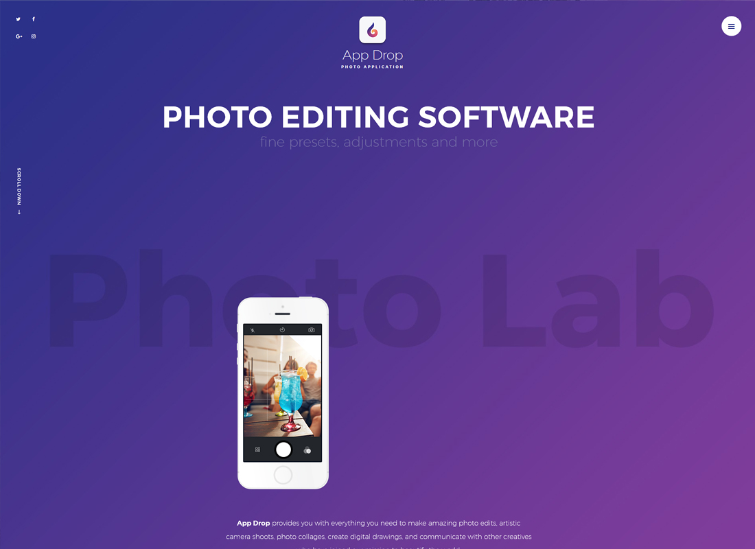 App Drop | Landing Page for Photo Editing Mobile Application WordPress Theme