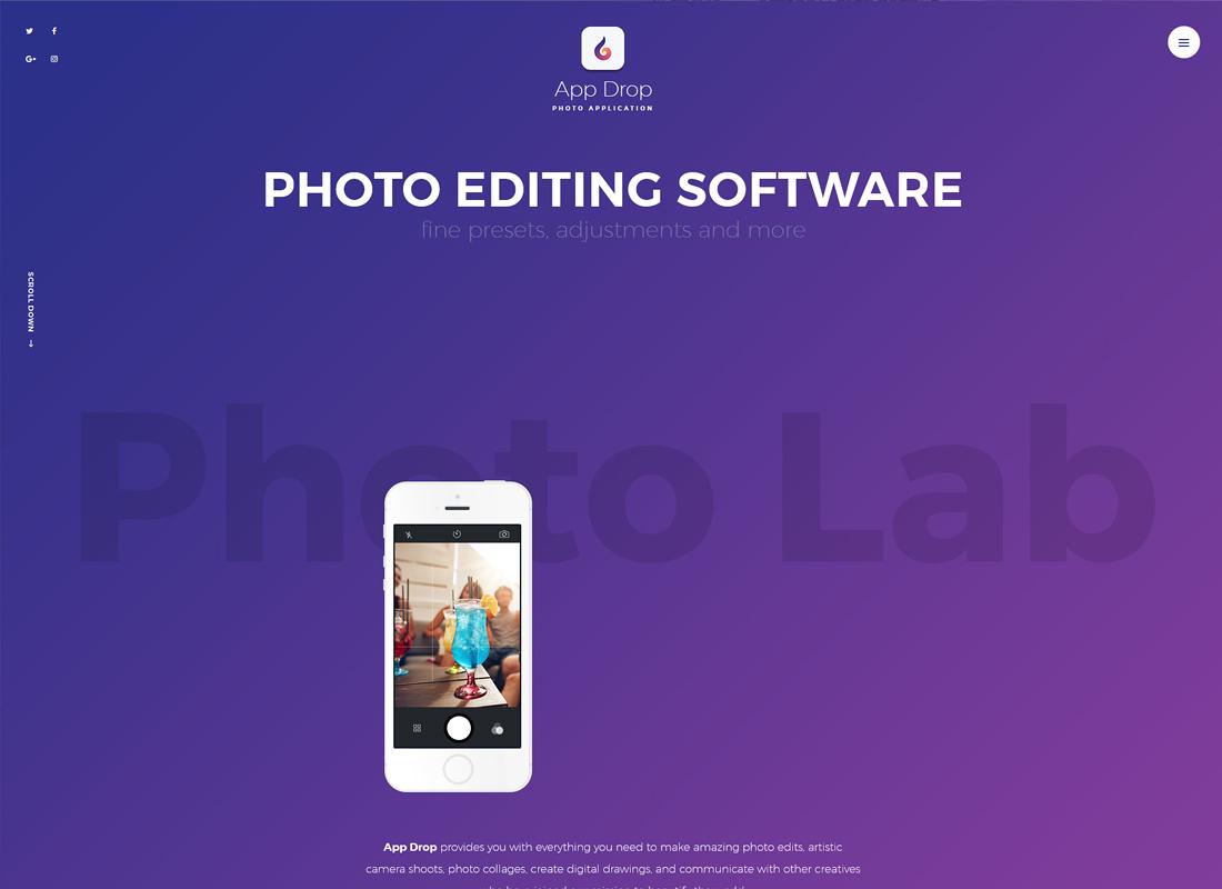 App Drop | Landing Page for Photo Editing Mobile Application WordPress Theme