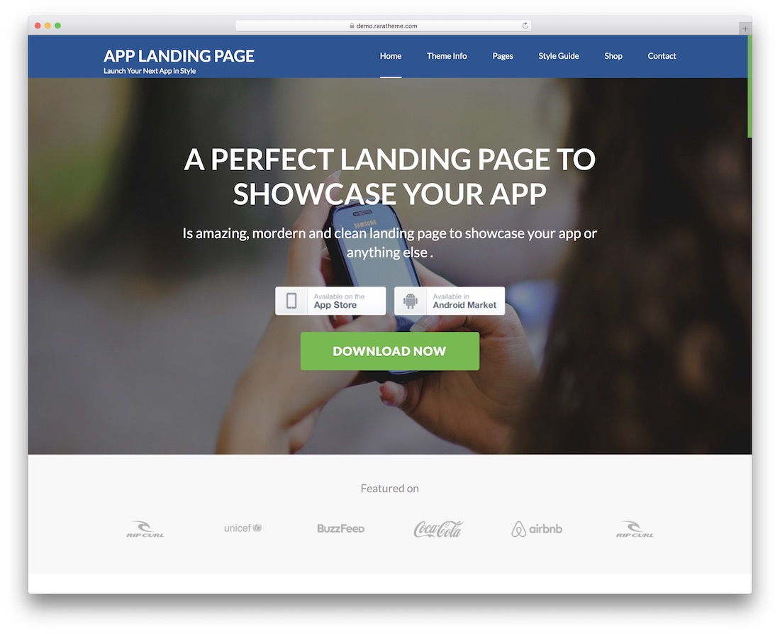 app landing page free wordpress theme