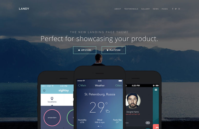25 Best Mobile App, Software Showcase And Landing Page WordPress Themes – 2017