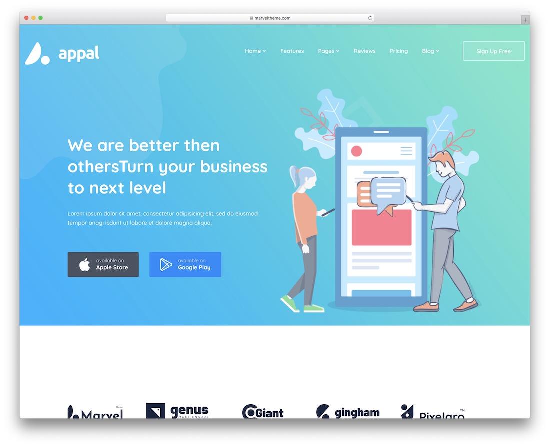 appal app showcase wordpress theme