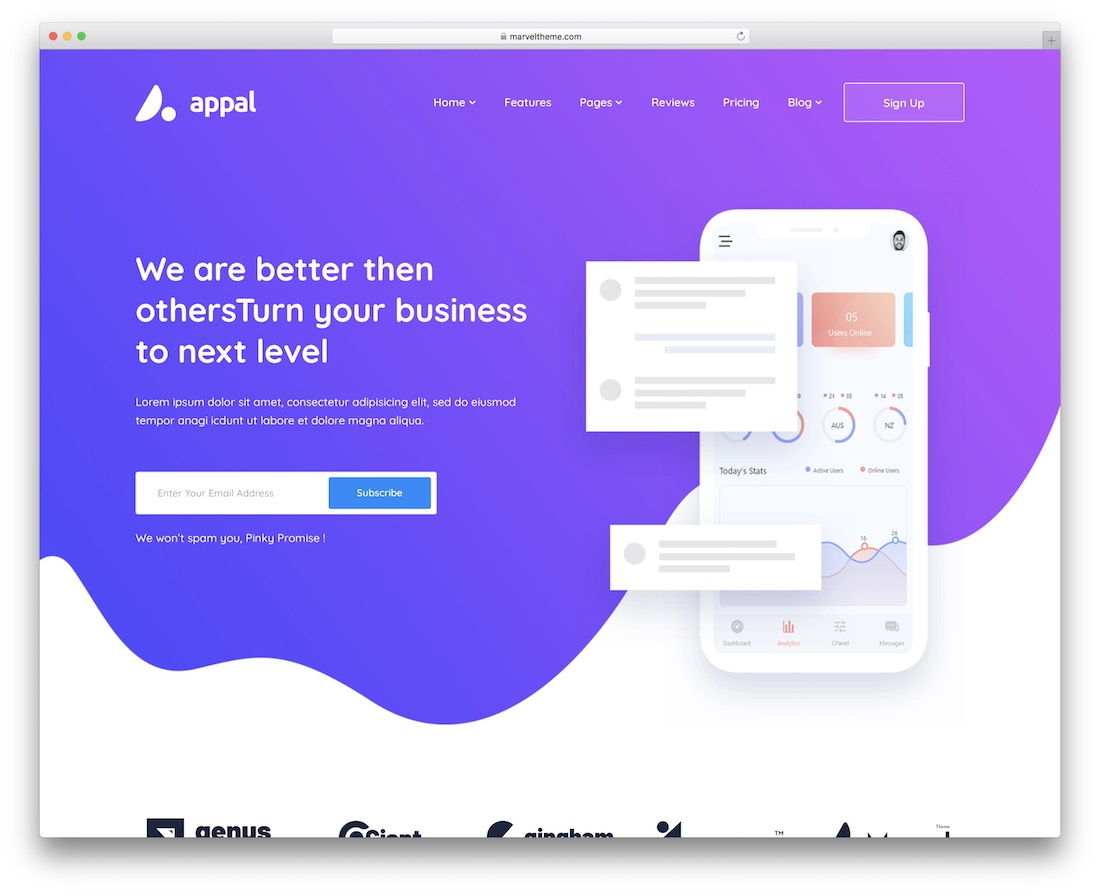 appal one page business theme