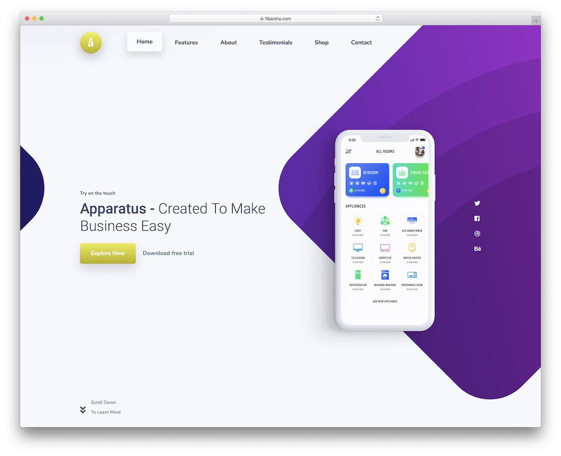 55 mobiapp free one page bootstrap template