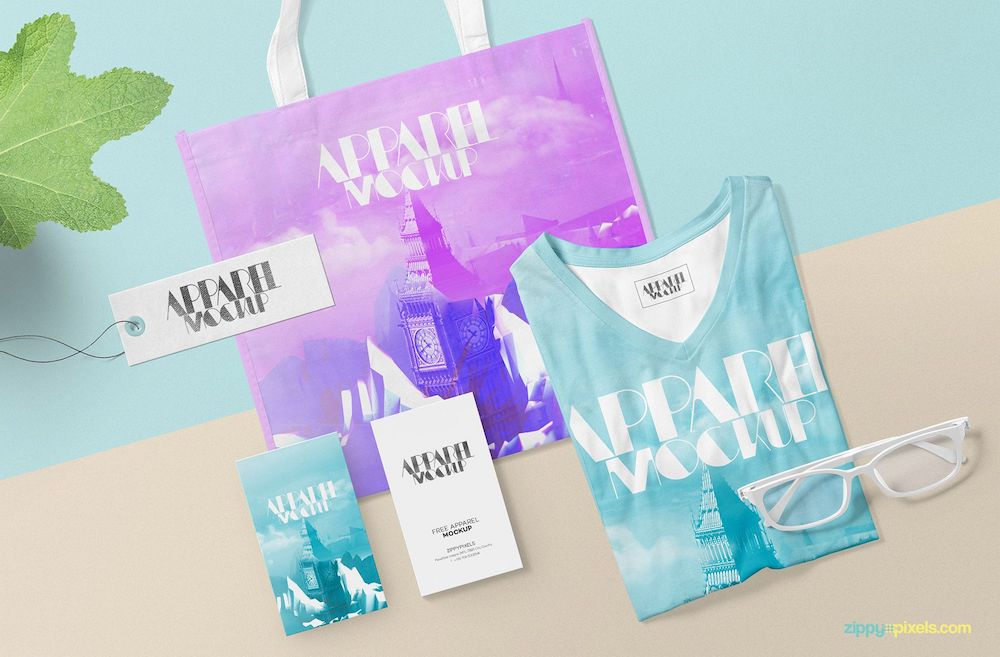 apparel and tote bag design psd mockup