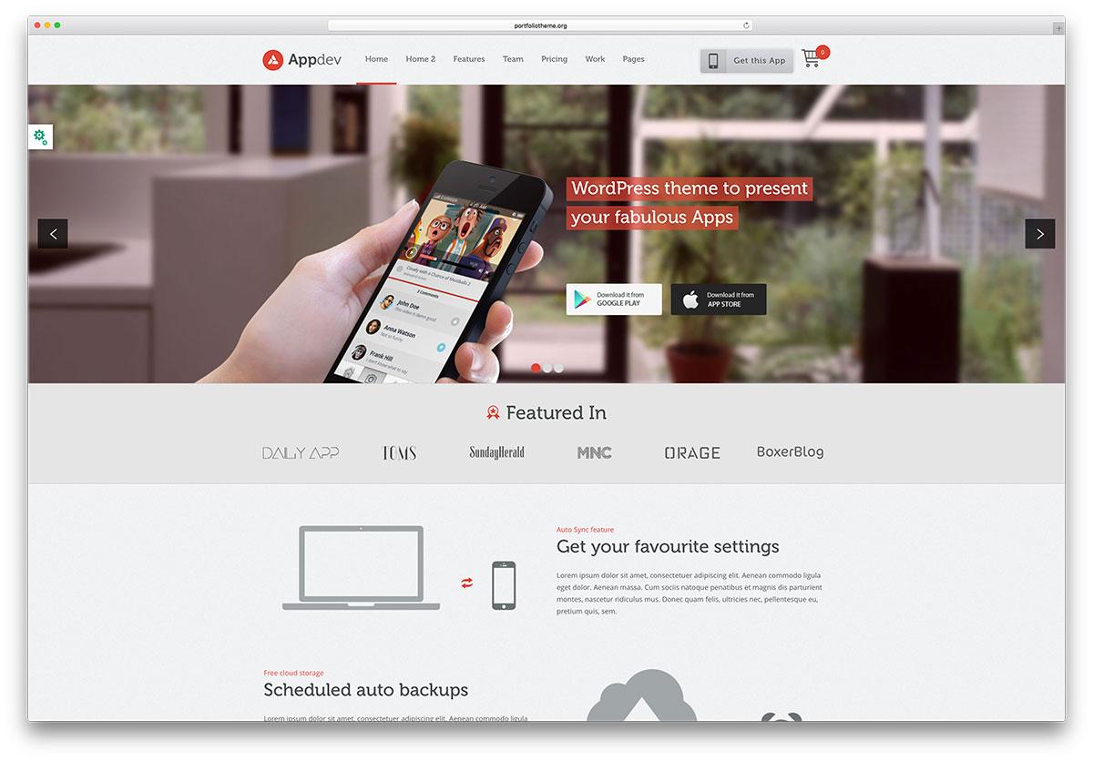 Google themes date a live - Appdev App Showcase Wordpress Theme